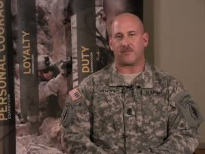 Note no jump wings or any badges on 1SG Elmore's acu