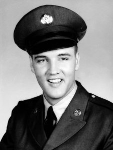 Elvis Presley wearing the service cap in 1959