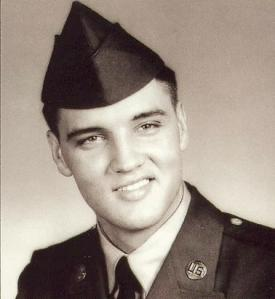 Elvis Presley wearing the garrison cap in 1958