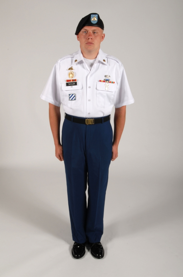 Army asu white shirt rank placement on dress