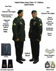 "class A uniform known as the ""greens"""