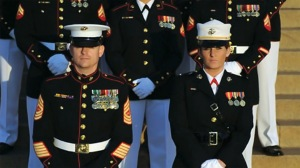 United States Marine Corps dress blues, note the service stripes below the rank at the bottom of the sleeves