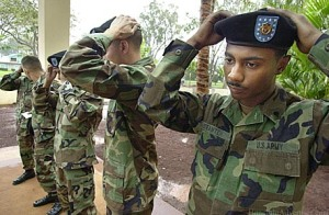 "The saying ""issued not earned"" came around the time the black beret was mandated for all soldiers to wear after basic training was completed"