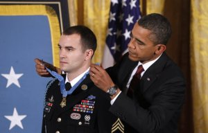 SSG Giunta receiving the MOH