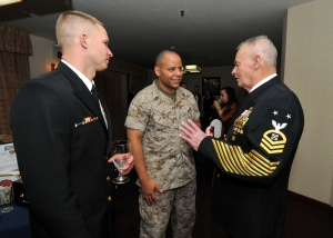 On the right is Famed Navy Seal Chief Rudy Boesch with his gold service stripes on his sleeves