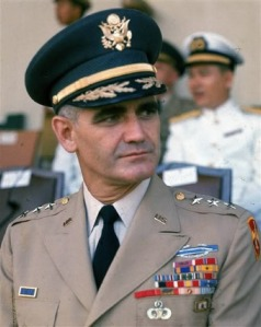 General Westmorland wearing the green variation of the service cap during the Vietnam era